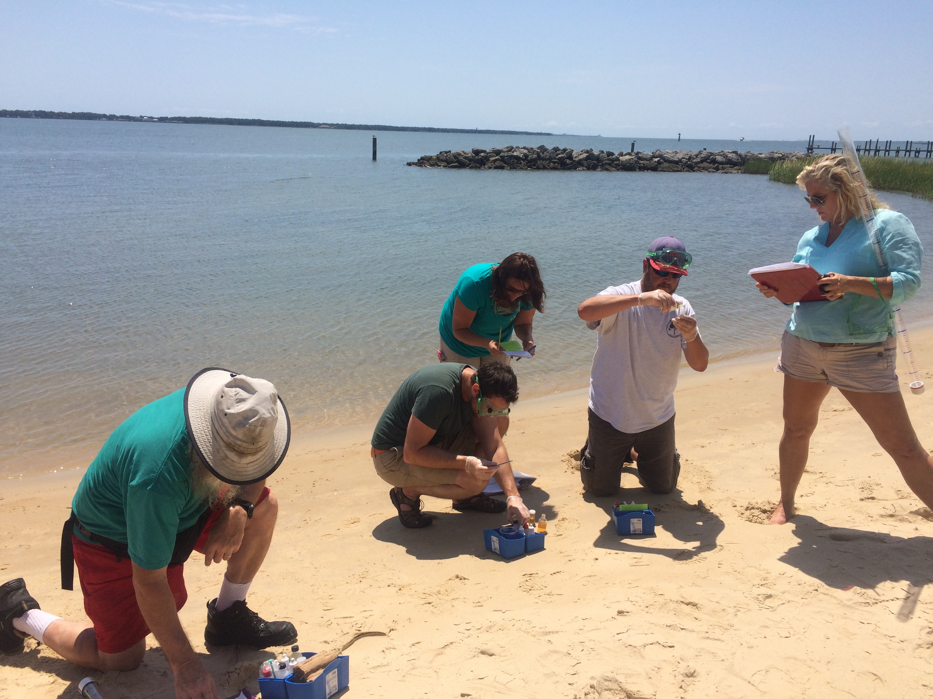 Measuring salinity dissolved oxygen. Coastal Connections teacher training 2015 Photo by Vicky Thayer